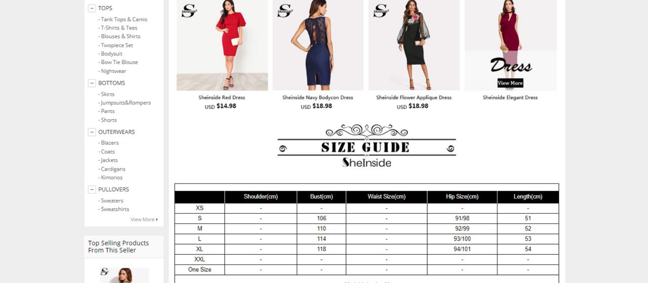 d1ffcd0431 Przykładowa tabela rozmiarów znajdująca się na stronie AliExpress.com